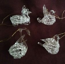 4 Small Clear Glass Swan Bird Sheep Christmas Ornaments - More available