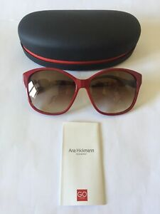 Ana Hickmann Acetate Sunglasses Model AH9186 in H01 Red, Brown Gradient Lenses