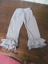 BOUTIQUE BIG tiered Ruffled Capri Cropped leggings Pants 140 5/5T GREY Slim EUC