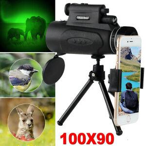 100x90 Zoom Monocular Telescope Phone Camera Starscope Hunting + Tripod Clip Set