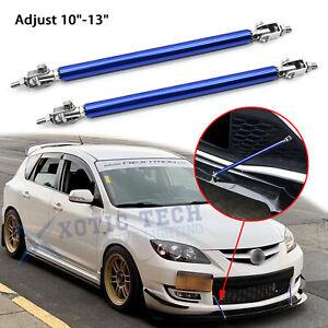 """For Mazda 3 Adjustable 10""""-13"""" Blue Front Bumper Strut Splitter Racing Lip Bars"""