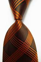 New Classic Checks Black Brown JACQUARD WOVEN 100% Silk Men's Tie Necktie