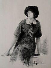 Lithographie XIX de A.Gurnery, Croquis de jeune fille