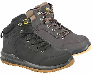 Mens Nubuck Action Leather Lace Up Steel Safety Ankle Boots Shoes Size