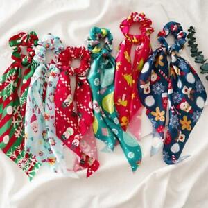 Christmas Scrunchies w/ Ribbon Bow Scarf Snowflake Santa Pontayil Hair Ties