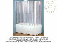 Box cabina vasca 2 lati a soffietto in Pvc h 150 cm 70 x170÷150 cm apertura ango