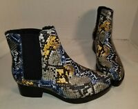 NEW JEFFREY CAMPBELL GRIFFIN SNAKESKIN PRINT LEATHER CHELSEA BOOTS WOMENS US 7.5