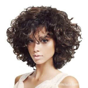 Women Wig Brown Short Full Wavy Wig Fashion Natural Kinky Curly Hair Wigs