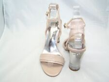 Size 6 nude patent block heel,ankle strap sandals from Marks and Spencer