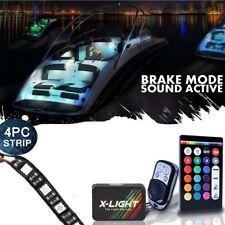 4pc LED Boat Interior Lighting Strip Kit 18-Color glow Neon waterproof Flexible