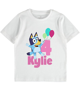 Personalised girls tshirt Bluey Birthday Babies Toddlers clothes baby gift top