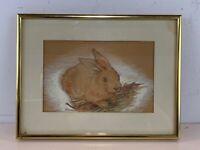 Vintage Oil Pastel Bunny Rabbit Original Painting Framed
