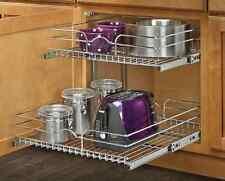 Kitchen Shelf 2 Tier Metal Pull Out Cabinet Basket Organizer Sliding Rack Holder