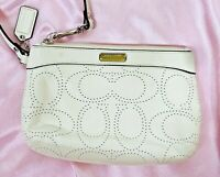 Coach Perforated Wristlet White Leather Signature C Clutch
