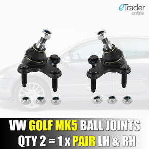 VW VOLKSWAGEN GOLF MK 5 & 6 2003 - 2013 Pair Ball Joints Qty 2 LH & RH Lower NEW