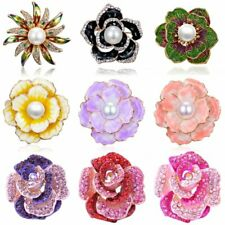 Pearl Crystal Round Breastpin Lady Women Plant Flower Brooch Pin Wedding Jewelry