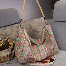 New Fashion Women's Straw Beach Bag Lady Shoulder Bag Tote Shopping Bag H rlll
