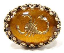 SoHo® Ring altgold bronze bohemia Skorpion Sternzeichen handgemachtes Glas 50er