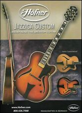 Hofner Jazzica Custom Natural & Sunburst electric guitar ad 8 x 11 advertisement