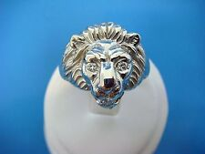 14K WHITE GOLD, LION HEAD DESIGN MEN,S RING WITH DIAMONDS, 13.2 GRAMS, SIZE 11