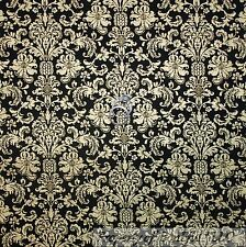 BonEful Fabric FQ Cotton Quilt Black Gold Metallic Flower DAMASK Antique Xmas NR