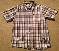 Boy's Quiksilver Gray Plaid Short Sleeve Shirt-Size L (16-18)