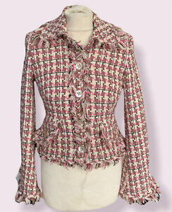 Karen Millen Boucle Style Tweed Jacket Blazer Size UK 10 Frill pink preppy