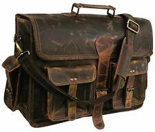 "18"" Briefcase Genuine BUFFALO Leather MESSENGER SHOULDER Satchel Laptop BAGS"
