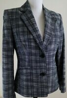KASPER~Women's Sz 8~Black/White Plated Designer Blazer Cotton Jacket Office Wear