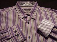 Bugatchi Uomo Mens Large L/S Button-Down Multicolor Striped Flip Cuff Shirt