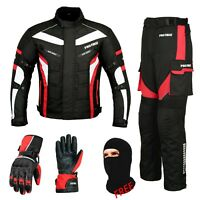 Red Motorbike Textile Riding Suit Jacket-Trouser Cowhide Leather Matching Gloves