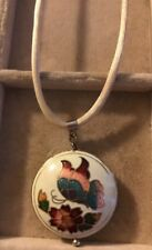 Vintage Puffy Cloisonne Pendant Necklace Butterfly Flowers Brown Chord