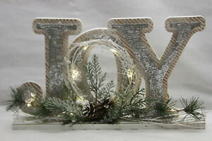 Illuminated Joy Decorative Accent with Timer by Valerie SILVER RTL$34
