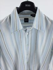 Hugo Boss Mens XL White & Blue striped Long Sleeve **Hole At Bottom** M-29
