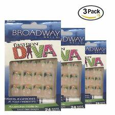 Broadway Nails Fashion Diva Nail Kit Medium Length 24 Nails Each (Pack of 3)
