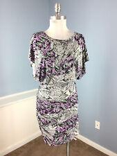Marc New York S 6 Purple Gray Snake Skin Print Blouson Dress Ruched Cocktail EUC