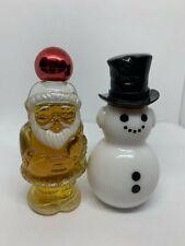 2 Avon Vintage Bottles Jolly Santa Claus Topaze Cologne Snowman