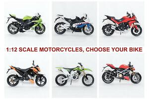 1/12 Scale Die-cast Motorcycle Motorbike Model Bike Toy, CHOOSE YOUR BIKE
