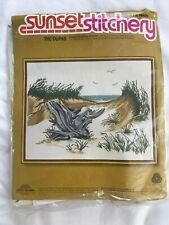 Vintage 1970s Crewel Embroidery Kit Sunset Stitchery The Dunes Beach Driftwood