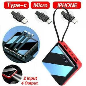 Portable 900000mAh Power Bank Mini USB LED Battery Charger For Mobile Phone Red