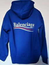 Authentic Balenciaga Wave Logo Blue Hoodie