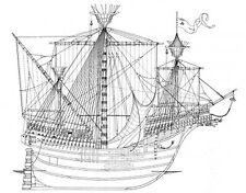 KARACKE,  mittelalterliches Segelschiff. Modellbauplan