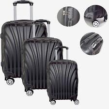Reisekoffer Set Trolley Hartschale Design für Urlaub, Reise - 3tlg RK2 Schwarz