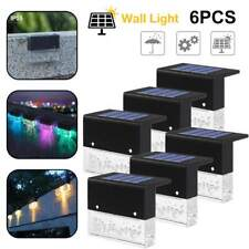 6 Pack Fence Post Solar Deck Lights White+RGB LED Outdoor Garden Waterproof