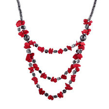Fashion Small Irregular Gravel Stone&Hematite Link Chain Statement Necklace Gift