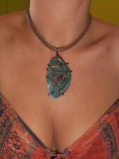 Handmade Boho Hippie Natural Semi-Precious Stone Pendant Copper Leather Necklace