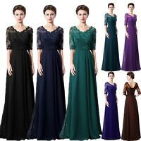 Chiffon Long Mother Of The Bride Dress Lace Formal Wedding Gown Half Sleeve Plus