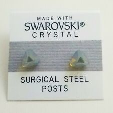 Silver Pyramid Stud Earrings 8mm Square Crystal Made with Swarovski Elements