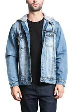 Victorious Men's Distressed with Removable Hoody  Wash Denim Jacket DK109 -EE1F