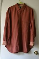 Men's Tommy Bahama Striped Long Sleeve Button Down Shirt Silk Size Medium Red